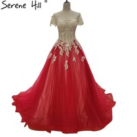 New Red Sexy Evening Dress Appliques Sequined Tulle Evening Gowns