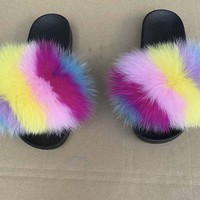 Ariel Fox fur slides