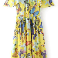 Yellow Butterfly Skater Dress
