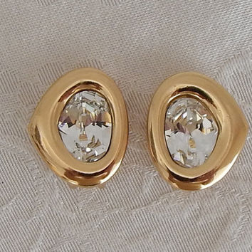 Vintage Signed Christian Dior Gold Tone Rhinestone Clip Earrings