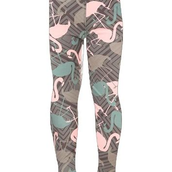 Girl's Flamingo Leggings Pink Blue Gray: S/L