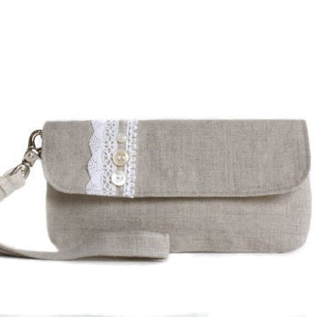 Wristlet Clutch Natural Linen and Crochet Lace with by AppleWhite