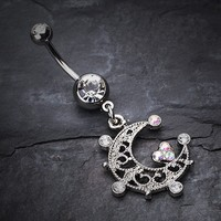 Elegant Sparkle Moon Belly Button Ring