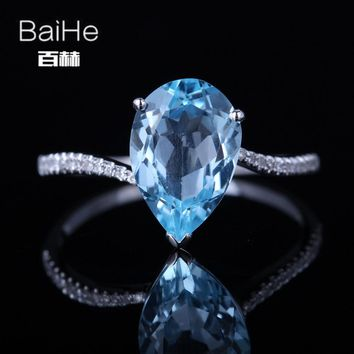 BAIHE Sterling Silver 925(S925) 3.13CT Certified Sky Blue Flawless Genuine Blue Topaz Engagement Women Trendy Fine Jewelry Ring