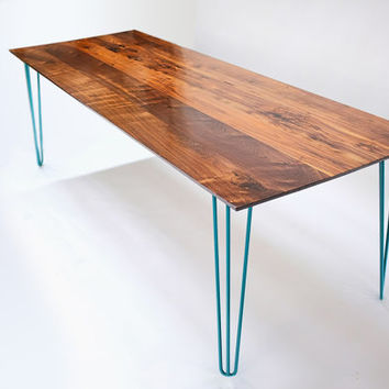 Midcentury Modern Solid Walnut Table w/ 3 Rod Powder Coated Hairpin Legs