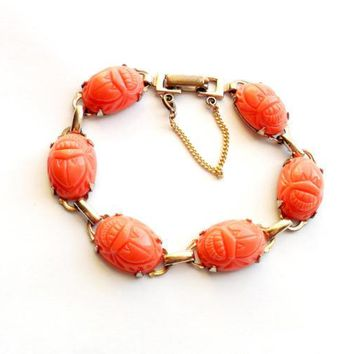 Vintage Coral Pink Scarab Bracelet Acrylic Resin Molded Link Gold Tone Safety Catch Chain Egyptian Revival Good Luck Beetle Bug Insect