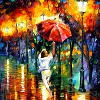 RED UMBRELLA — PALETTE KNIFE Oil Painting On Canvas By Leonid Afremov - Size 30x40. 10% discount coupon - deviantart10off