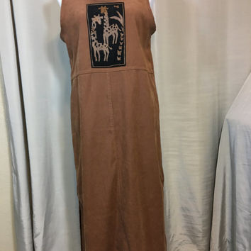 Brown Faux Suede Dress or Jumper with Giraffe by Original TY Wear Ladies Petite Medium