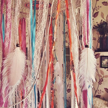 Bohemian Dreamcatcher Bed Canopy - Boho Nursery Decor - Indian Elephant Style - Hanging Crib Crown - Gypsy Bedroom Decor - Tropical Decor
