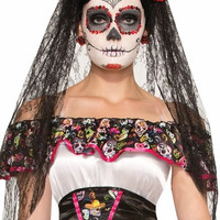 Day of the Dead Black Veil Headdress