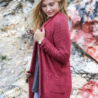 Heathered Knit Cardigan, Marsala
