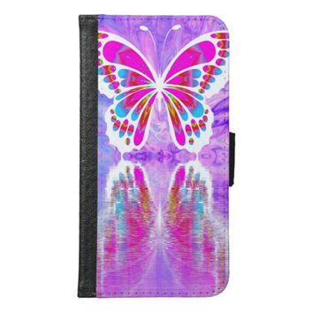 Colorful Bright Butterfly Wallet Phone Case For Samsung Galaxy S6