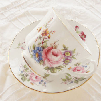 Vintage Duchess Downton Abbey Bone China Footed Tea Cup and Saucer Set, Cottage Style, French Country, Elegant Tea Party