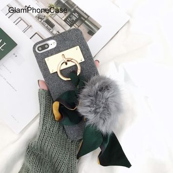 GlamPhoneCase Korean Ribbon Strap Pompon Case For iPhone 7 7plus 8 8plus X Capa For iPhone 6 6s 6plus 6s+ Lady Soft Back Case