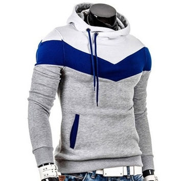 2014 New Autumn and Winter men's hoodies contrast color slim thickened fleece hoodies