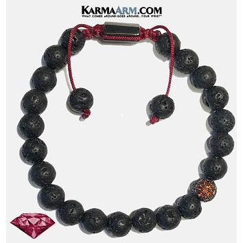 FEARLESS ENERGY | Lava Stone | Red Pave Ball Pull Tie Bracelet