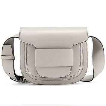 BRANCHEAU YEUNG Retro Cowhide Genuine Leather Bag Saddle Bag Classy Shoulder Crossbody Purse Flat Pattern