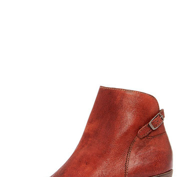 Matisse Folk Brick Red Leather Peep Toe Booties