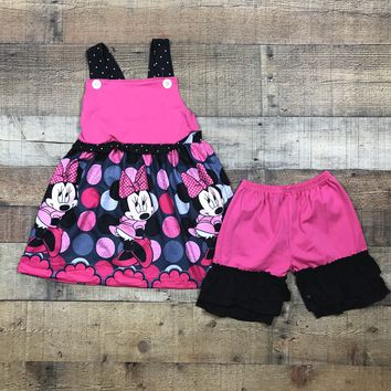 Girl Mouse Hot Pink Black 2pc Ruffle Short Outfit RTS