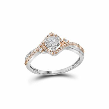 10k 2-tone White Gold Women's Diamond Solitaire Rose-accent Ring - FREE Shipping (US/CA)