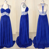 Aliexpress.com : Buy 2014 Royal Blue Prom Dress, Cheap Long/Floor length Open Back Prom Dresses, Plus Size Beaded Prom Dress with Spaghetti Straps from Reliable dress star suppliers on Diyouth
