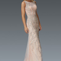 G2154 Tulle Beaded Sheer Illusion High Neck Prom Dress