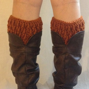 Crochet boot cuffs in rust, boot socks, faux leg warmers, orange boot cuffs
