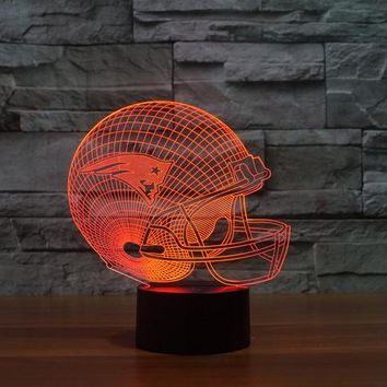 3D New England Patriots Logo NFL Team Collection Football Helmet Visual Lamp Home Decor LED Table Lamp Night light Drop Ship