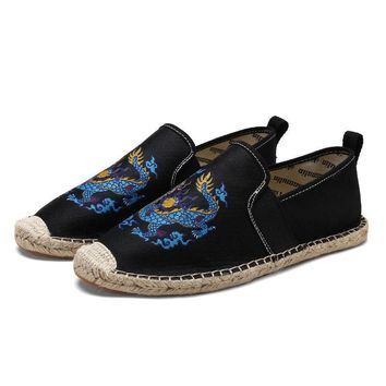 Men Hand Stitching Embroidery Espadrilles Loafers