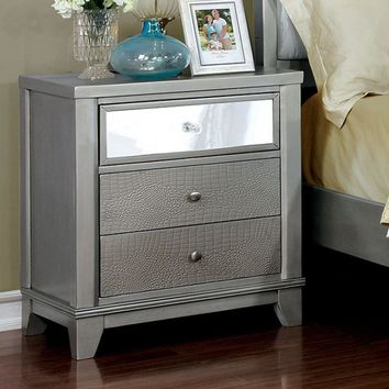 Bryant II Contemporary Style Night Stand , Silver
