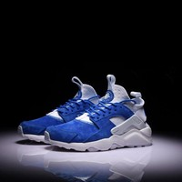 Best Online Sale Nike Air Huarache 1 4 Suede Blue White Sport Shoes