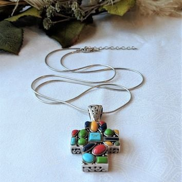 Vintage Southwestern Style Sterling Multi Gemstone Filigree Cross Pendant Necklace