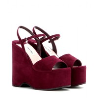 Suede platform wedge sandals