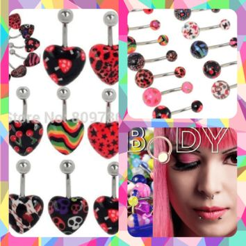 NEW! PM HARD CANDY Heart Belly Ring Navel Piercing Body Jewerly