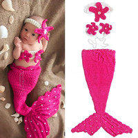 New Newborn Baby Crochet Knit Costume Photography Prop Outfit Mermaid Headband+bra+Tail Pearl Infant Girl Boy Soft 0-12M (Size: 0-6m) = 1958124484