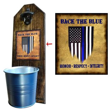 Back the Blue Bottle Opener and Cap Catcher, Wall Mounted