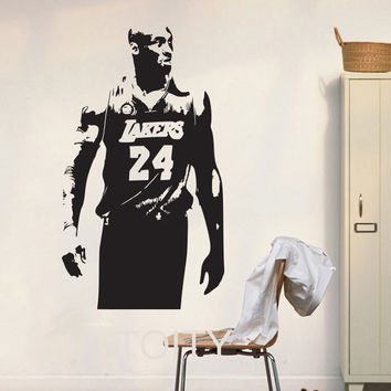 Lakers Kobe Bryant Wall Art Sticker NBA Basketball Poster Graphic Decal Decor School Dorm Living Room Bedroom Home Mural Stencil