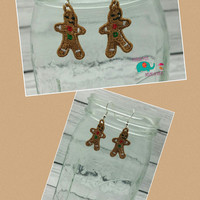Christmas gingerbread man free standing lace embroidered earrings, wire earrings, dangling earring, jewelry, accessories, holiday, winter