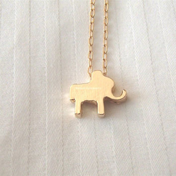 Gold Elephant Necklace - dainty, cute and lovely animal pendant jewelry, elephant