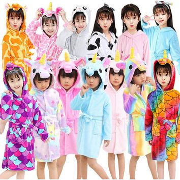 13 Style Animal Cartoon Unicorn Robes for Kids Flannel Warm Hooded Bathrobe Robes Dressing Gown Nightwear Cosplay Costume