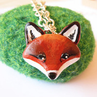 Fox necklace red fox totem pendant woodland by FlowerLandShop
