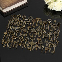 Set of 69 Antique Vintage Old Look Bronze Skeleton Keys Fancy Heart Bow Necklace Pendant [7640537478]
