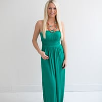 Pleated Front Strapless Maxi Dress- Green - Magnolia Boutique Indianapolis