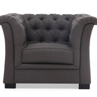 Nob Hill Chair - Tufted Charcoal Grey Linen
