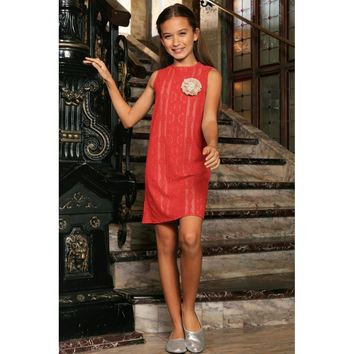 Coral Red Crochet Lace Fancy Summer Party Shift Dress - Girls
