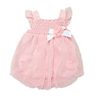 Chiffon Swiss Dot Smock Bubble Romper, Light Pink, 6 Months