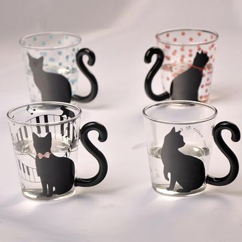 Cute Creative Cat Kitty Glass Mug Cup Cute Cat Hot Coffee Mugs for Creativity Funny Novelty Cups and Mugs of Milk Coffee Tea