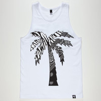 Blvd Zebra Palm Mens Tank White  In Sizes