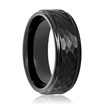Black Hammered Stepped Edges Tungsten Carbide Ring For Men 8mm