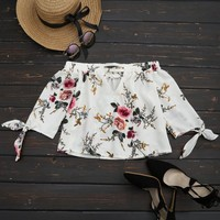 Off The Shoulder Floral Printed Blouse